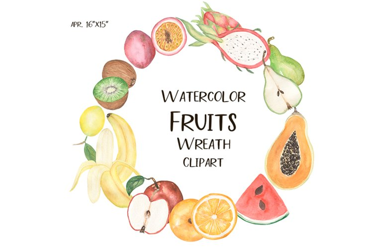 Watercolor Fruits wreath clipart example image 1