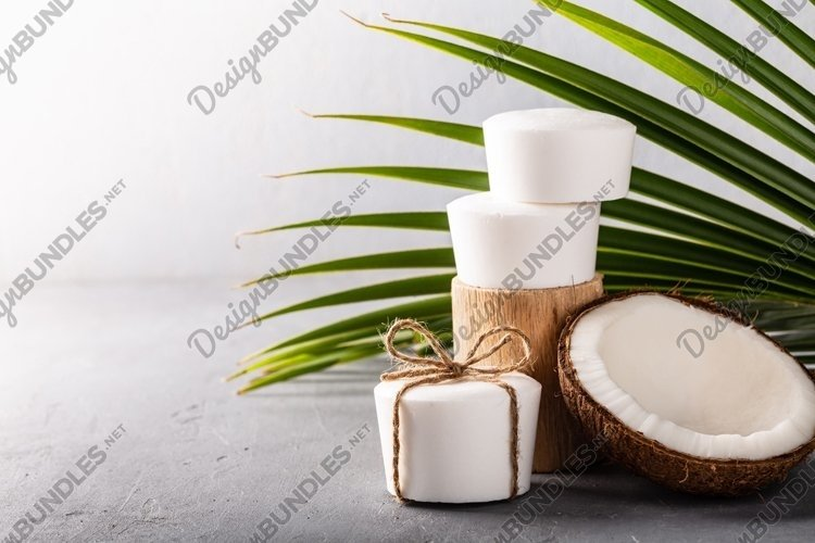 Handmade coconut oil white soap on grey concrete background. example image 1