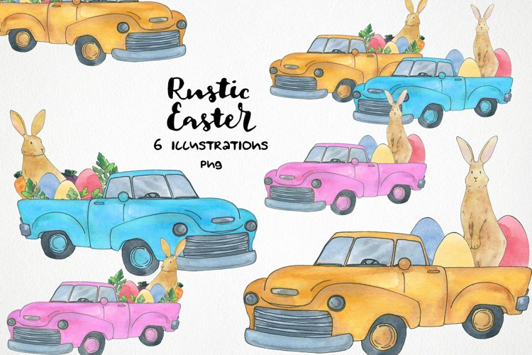 watercolor easter truck png, easter bunny clipart example image 1