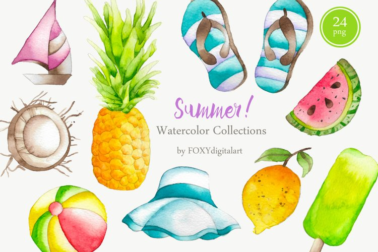 Watercolor Summer Holiday Tropical Island Clipart example image 1