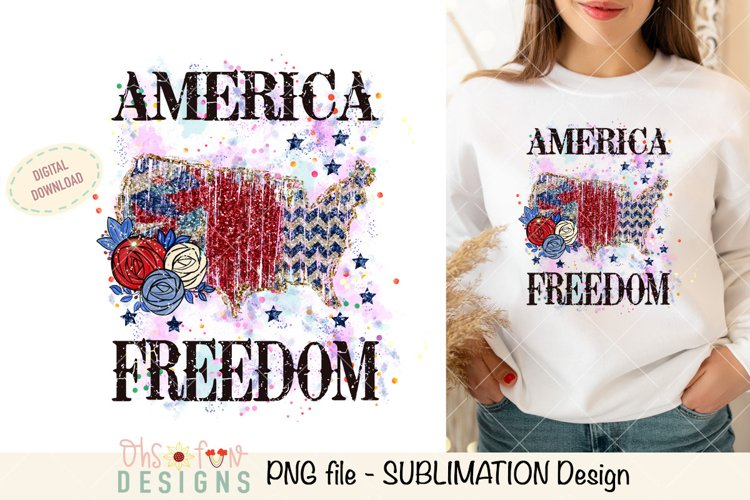 Sublimation US map animal print | red white and blue glitter
