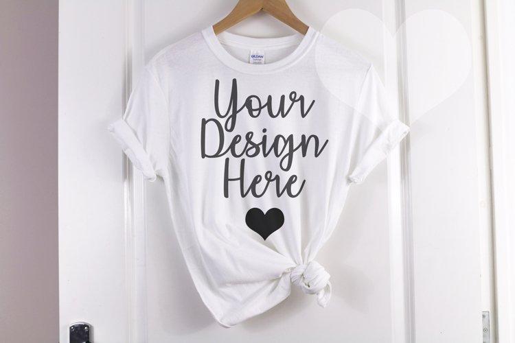 Gildan Mockup 64000 Softstyle White Knotted T shirt