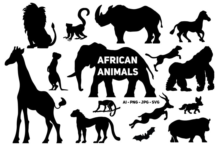 African Animals Silhouette example image 1