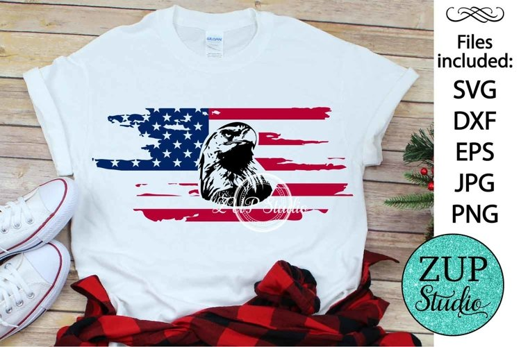 Eagle with Flag Design Digital Cutting files 492 example image 1