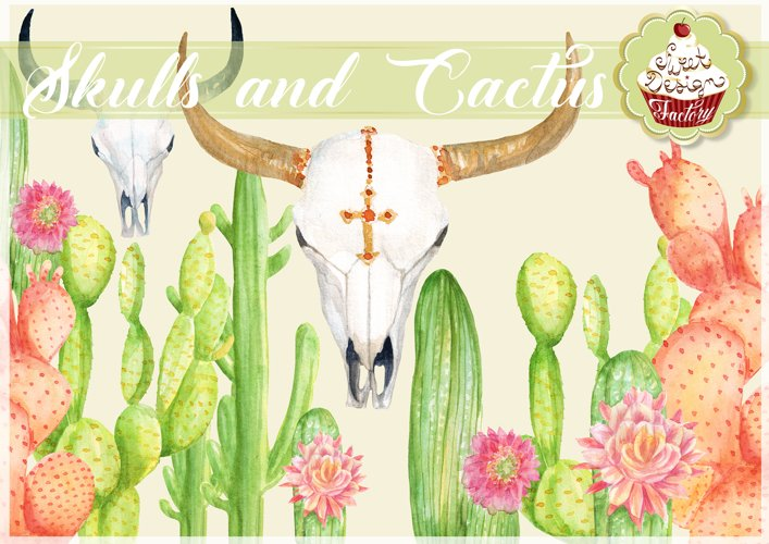 Watercolor cactus and longhorns clipart example image 1
