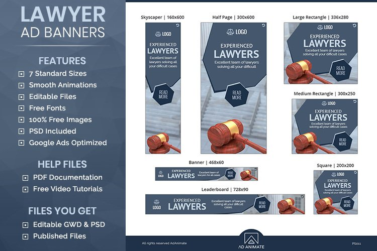 Lawyer Banner - Html5 Animated Ad Template example image 1