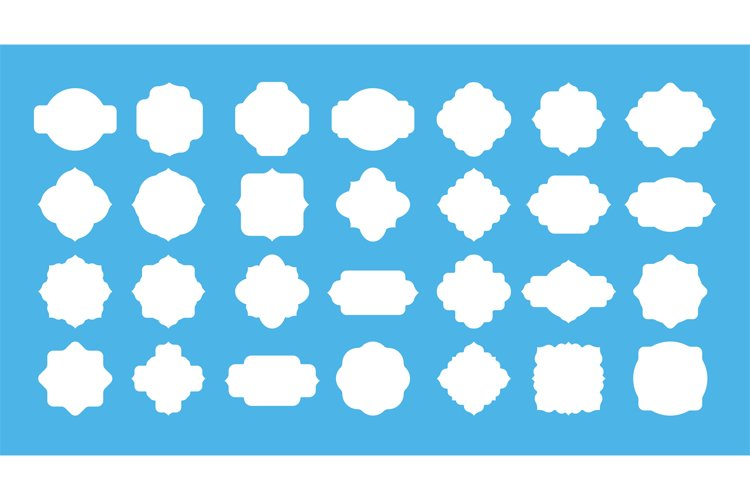 Blank frame label. Vintage empty badge shapes for text messa example image 1