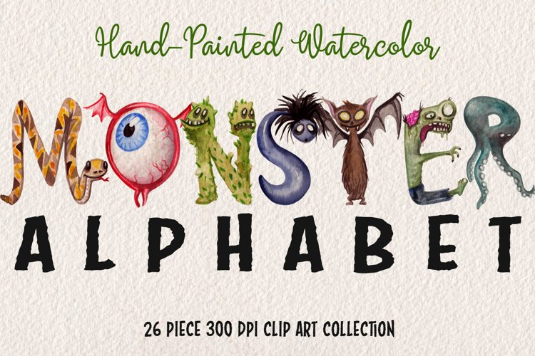 Watercolor Monster Alphabet example image 1