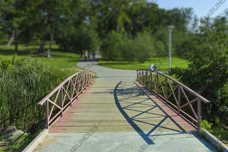 Elegant wooden bridge on a public Park background example image 1