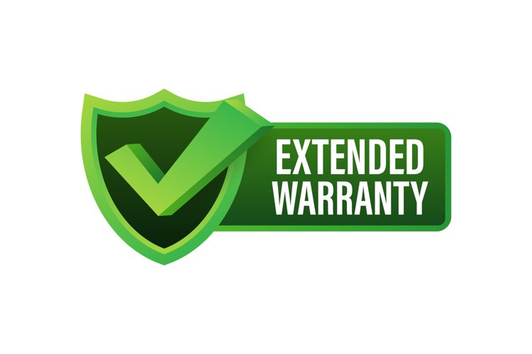 Extended warranty label or sticker. Badge, icon, stamp example image 1