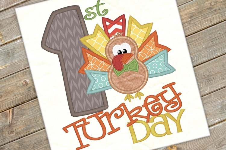 First Turkey Day Applique Embroidery Design 1156
