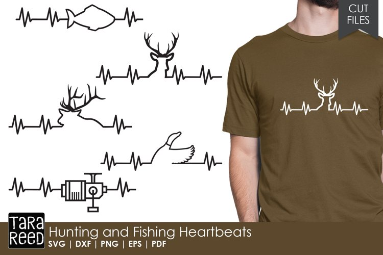 Hunting and Fishing Heartbeats - SVG and Cut Files