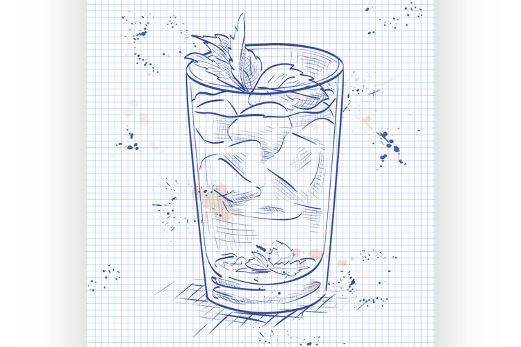 Cocktail Mint julep on a notebook page example image 1