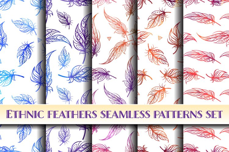 Ethnic style feathers seamless patterns set