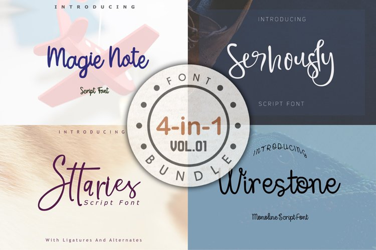4 in 1 Font bundle Vol 01 example image 1