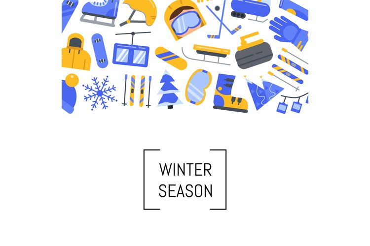 Vector flat style winter sports equipment and attributes example image 1