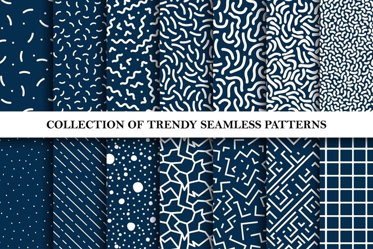 Set of memphis trendy patterns