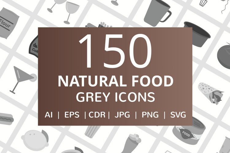 150 Natural Food Flat Greyscale Icons example image 1