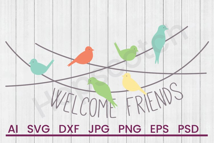 Birds on Pole SVG, Welcome SVG, DXF File, Cuttatable File example image 1