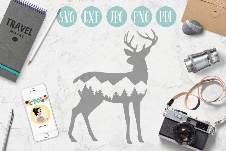 Deer svg, mountain deer clipart, mountain, adventure explore example image 1