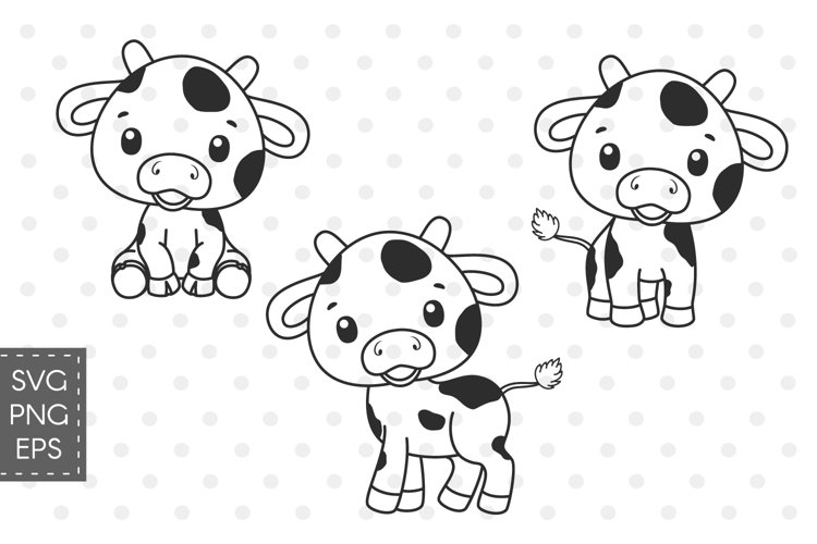 Cow SVG for kids, Cute animals clipart, 300 DPI