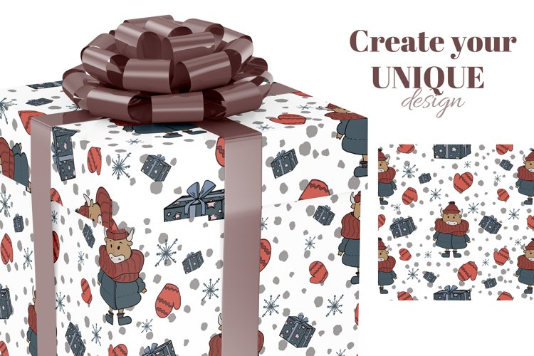 Christmas digital paper. Christmas cute scandi patterns. example 2