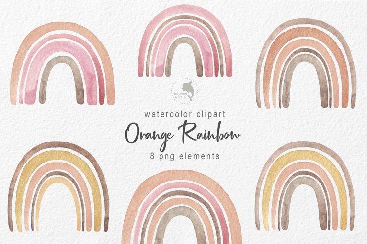 Watercolor orange rainbow example image 1