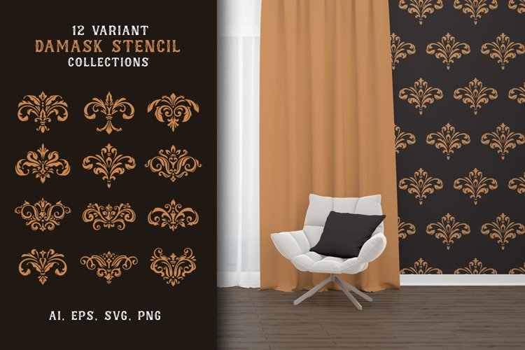 12 Variant Damask Stencil example image 1