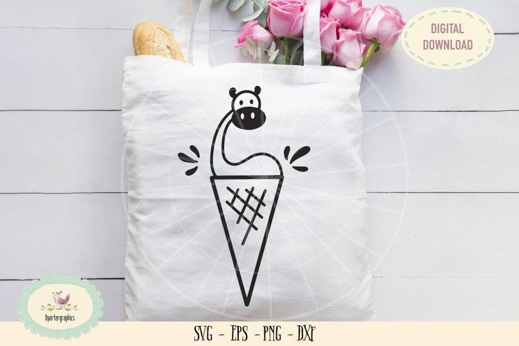 Dinosaur ice cream cone SVG PNG hand drawn example image 1