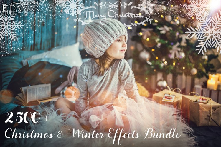 2500 Christmas & Winter Overlays Bundle example image 1