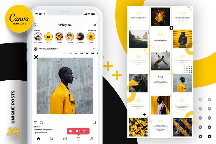 Black and yellow Instagram Puzzle Preset for Canva example image 1