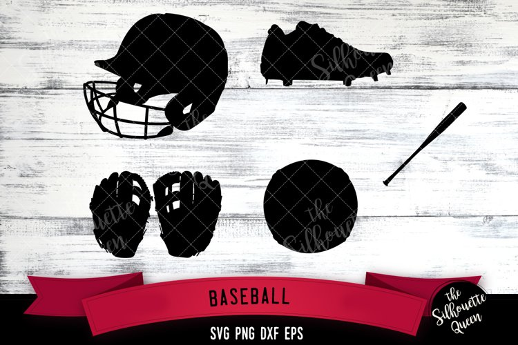 Baseball Equipment svg file, svg cut file, silhouette studio example image 1