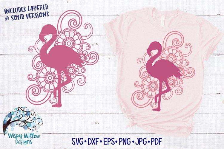Floral Swirl Flamingo Mandala SVG example image 1