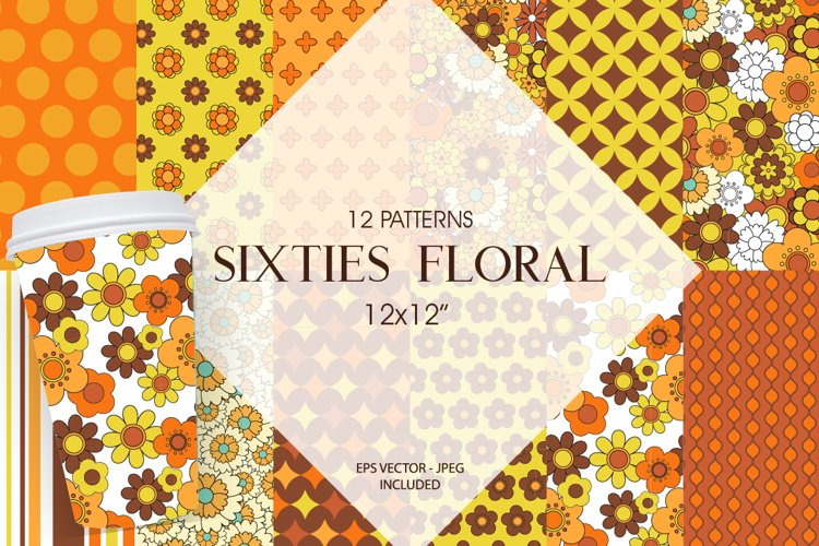 Sixties Floral Pattern collection, vector ai, eps and jpg