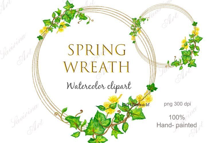 Spring wreath Watercolor clipart, Leaves Gold wreath