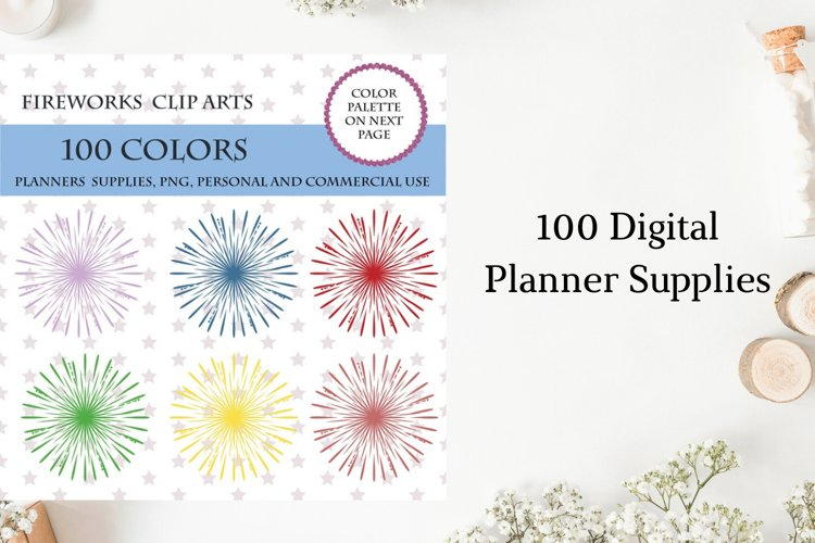 100 Fireworks clip art, New Years Eve clip art, 4th of July
