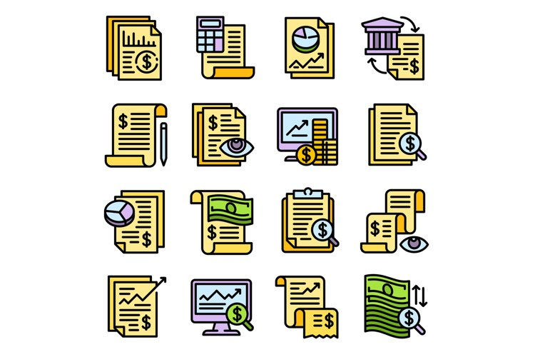 Expense report icons set, outline style example image 1