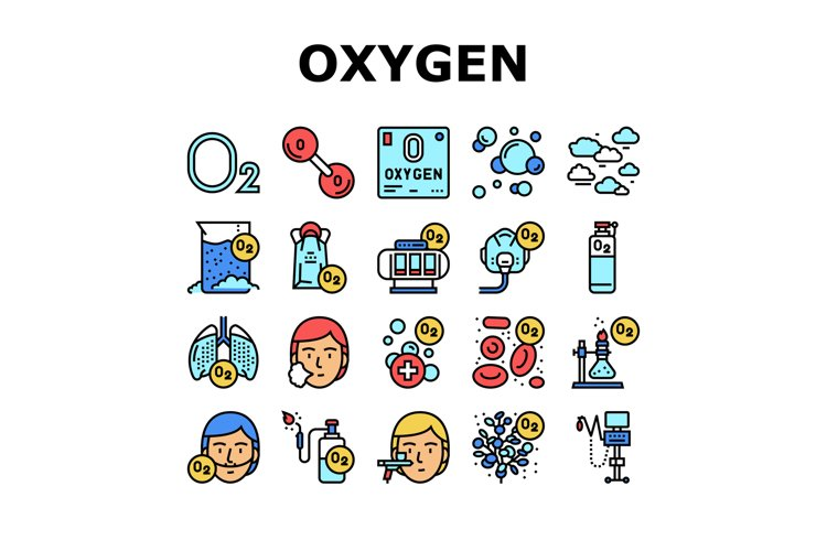 Oxygen O2 Chemical Collection Icons Set Vector example image 1