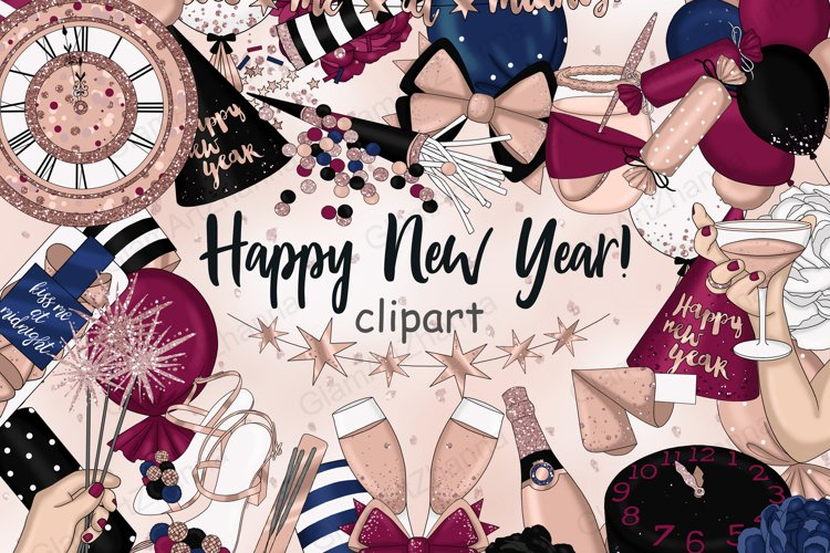 Happy New Year Rose Gold CLIPART Glitter Champagne - PNG