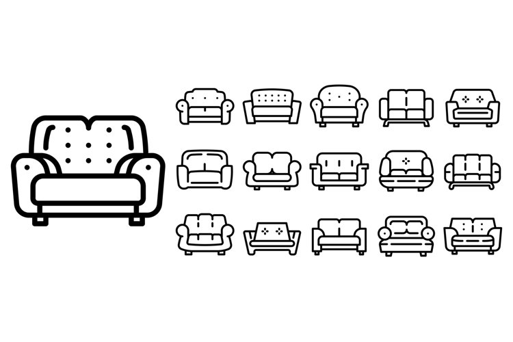 Sofa icons set, outline style example image 1