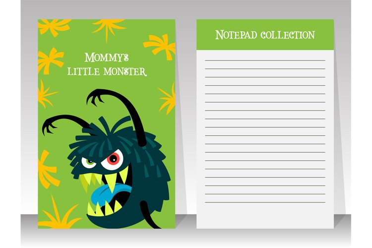 Cute green notebook template with monster example image 1