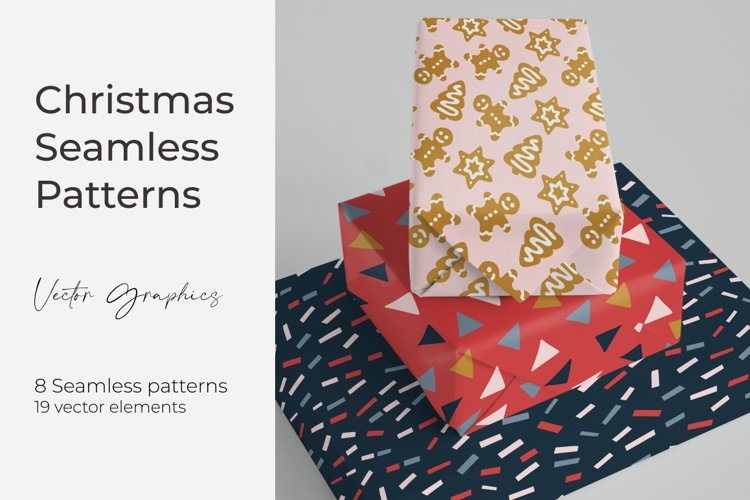 Christmas collection. Seamless vector patterns and elements. example image 1
