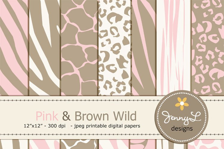 Pink and Brown Animal Print Digital papers, Baby Girl Safari, Zebra, Tiger, Giraffe, Leopard Print  example image 1