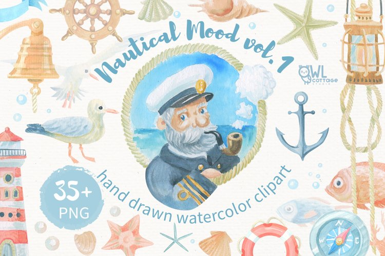 Nautical watercolor clipart collection