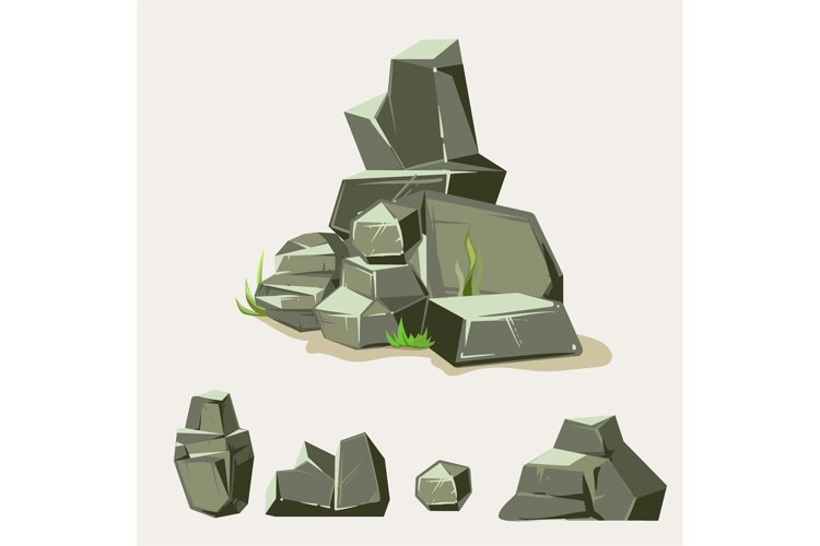 Set of rocks. Rock stone with grass. Cartoon isometric 3d fl example image 1