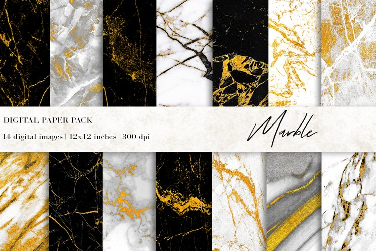 Marble Digital Papers, Gold Black White Marble Backgrounds example image 1