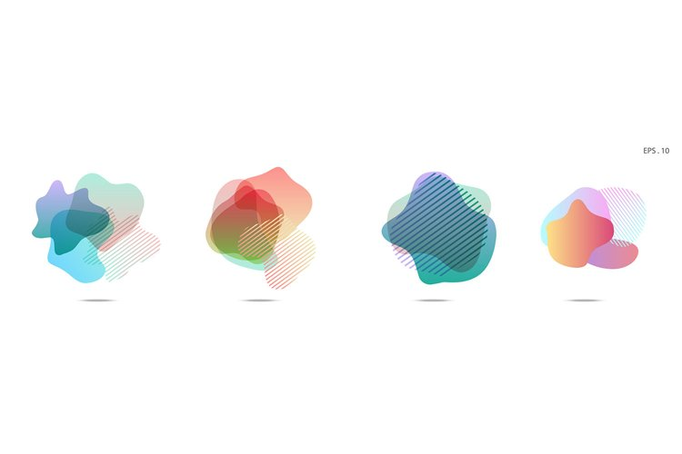 Set of abstract modern graphic elements. Dynamical colored example image 1
