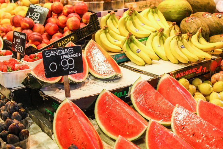 Watermelons strawberries bananas on a Barcelona market example image 1