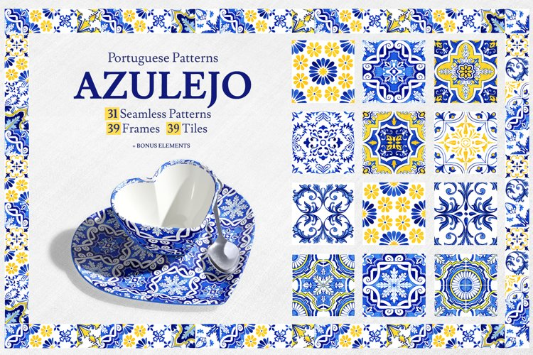 Portuguese Azulejos. Watercolor Patterns and Tiles.