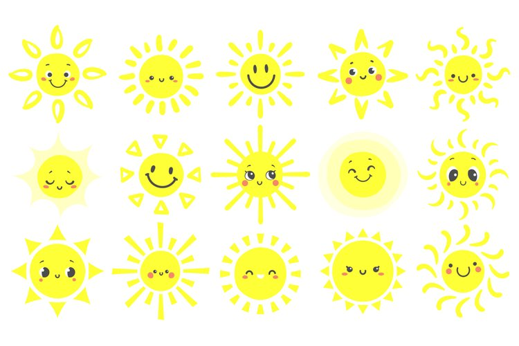 Hand drawn sun. Cute bright suns with funny smiling face, wa example image 1
